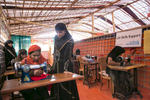 Women train as tailors at an Action Aid Women Friendly Space in Balukhali Rohingya Refugee camp February 1, 2018 in Chittagong district, Bangladesh. UN Women/Allison Joyce