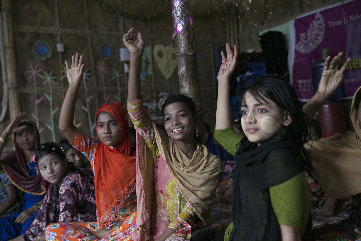 Children participate in GEMS Youth Curriculum at a Women Friendly Space in a Rohingya refugee camp June 29, 2018 in Cox's Bazar, Bangladesh. Allison Joyce/UNFPA