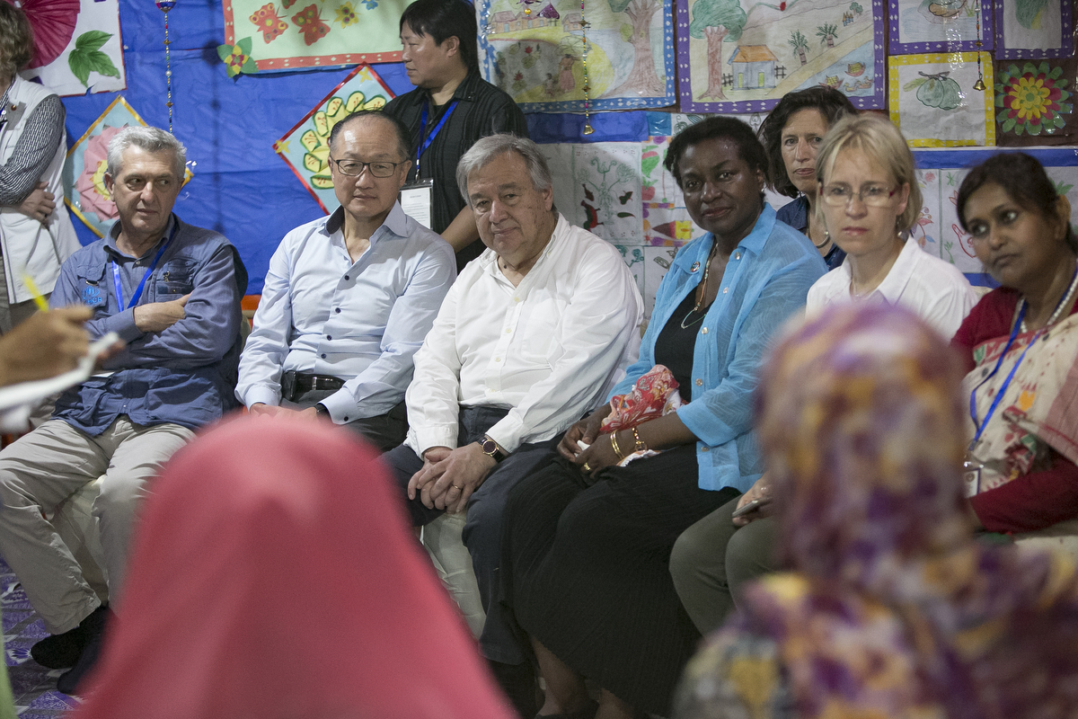 Filippo Grandi, Commissioner of UNHCR, Jim Yong Kim, President of the World Bank, UN Secretary General António Guterres, and Natalia Kanem, Executive Director of UNFPA, visit a UNFPA Women Friendly Space in a Rohingya refugee camp July 2, 2018 in Cox's Bazar, Bangladesh. Allison Joyce/UNFPA