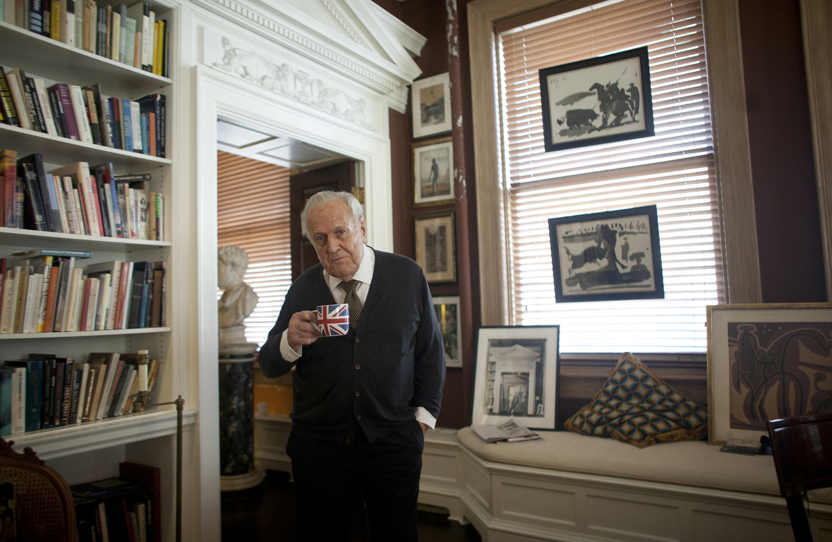 Art historian John Richardson stands for a photograph in his Manhattan apartment