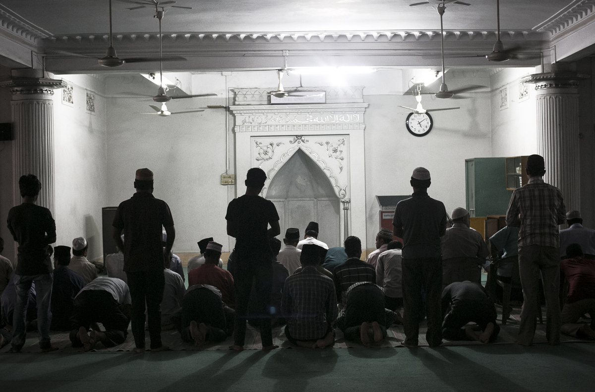 People worship at a Ahmadiyya mosque in Dhaka, Bangladesh. On December 25, 2015, a suicide bomber attacked an Ahmadiyya mosque in the Rajshahi district, killing the bomber and injuring 3 more. ISIS claimed responsibility.