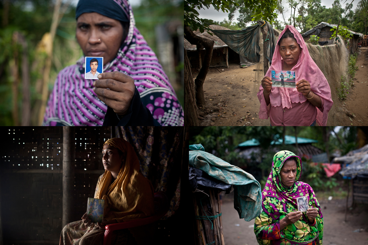 Mothers hold photos of their missing sons in Rohingya refugee camps in Bangladesh in 2015. In 2015 thousands of Rohingya landed on the shores of Indonesia, Malaysia and Thailand, many of them by way of Bangladesh. The Rohingya pay up to $2,000 to traffickers, and they sail out from Bangladesh's southern coastline on fishing boats to meet larger ships in the deep sea that will take them to Malaysia. They are frequently kidnapped and forced to work in labor camps or their families are extorted for ransoms they can't pay.