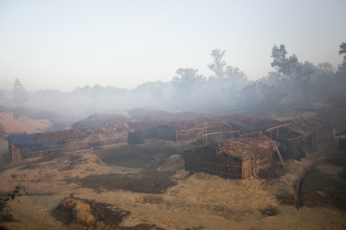 Mist hangs over makeshift homes in the Balu Kali refugee camp