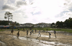 A football game takes place at a Rohingya refugee camp