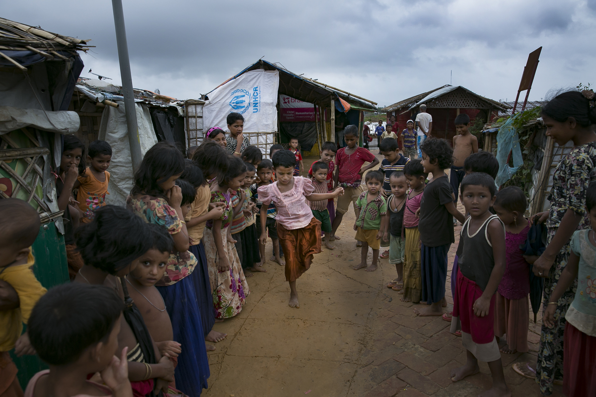 Women are seen in Balukhali Rohingya refugee camp in Cox's Bazar, Bangladesh