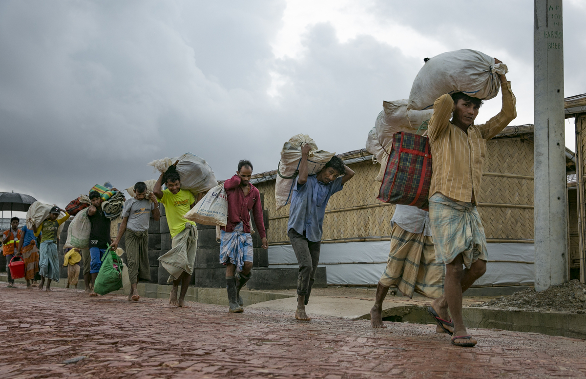 Families are relocated because of flooding and landslides in Balukhali Rohingya refugee camp in Cox's Bazar, Bangladesh