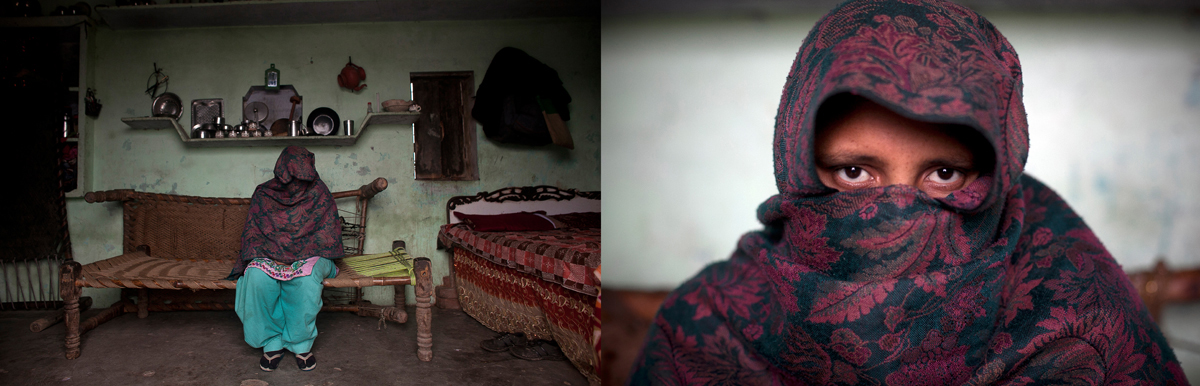 Safa, 30, (whose name has been changed to protect her identity) covers her face with her shawl while she sits for a photo January 22, 2014 in the Shamli District of Uttar Pradesh, India. According to her, on September 8, 2013, during a riot while her husband was away at work, four of her neighbors broke into her home and took turns raping her for an hour and a half. They finally left when they heard people shouting outside that the police were on their way. After the rape she was sick with an infection for one month. She filed a report with the police, but no arrests have been made, and her rapists have been threatening her and her family to drop the case.