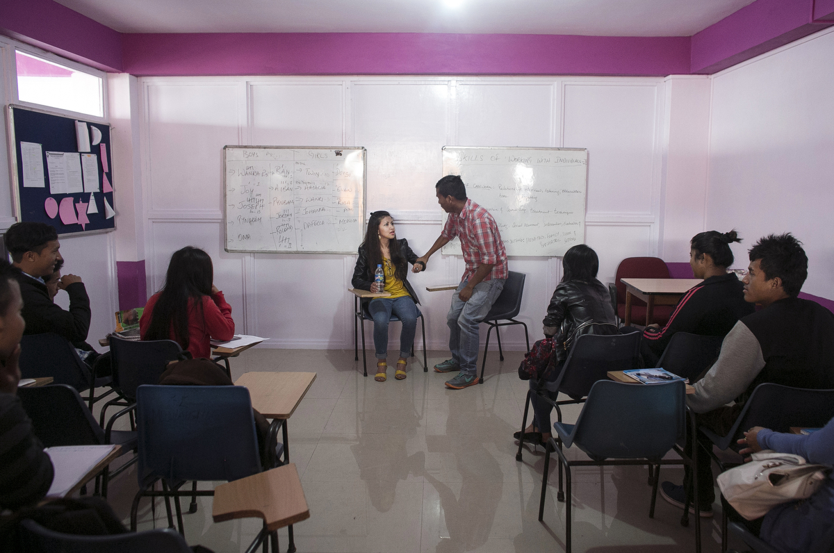 A class demonstrates how women can be assertive when pressured by men a university in Shillong