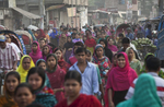 Garment workers walk to their factories in Dhaka, Bangladesh.
