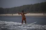 Johhanara catches a wave