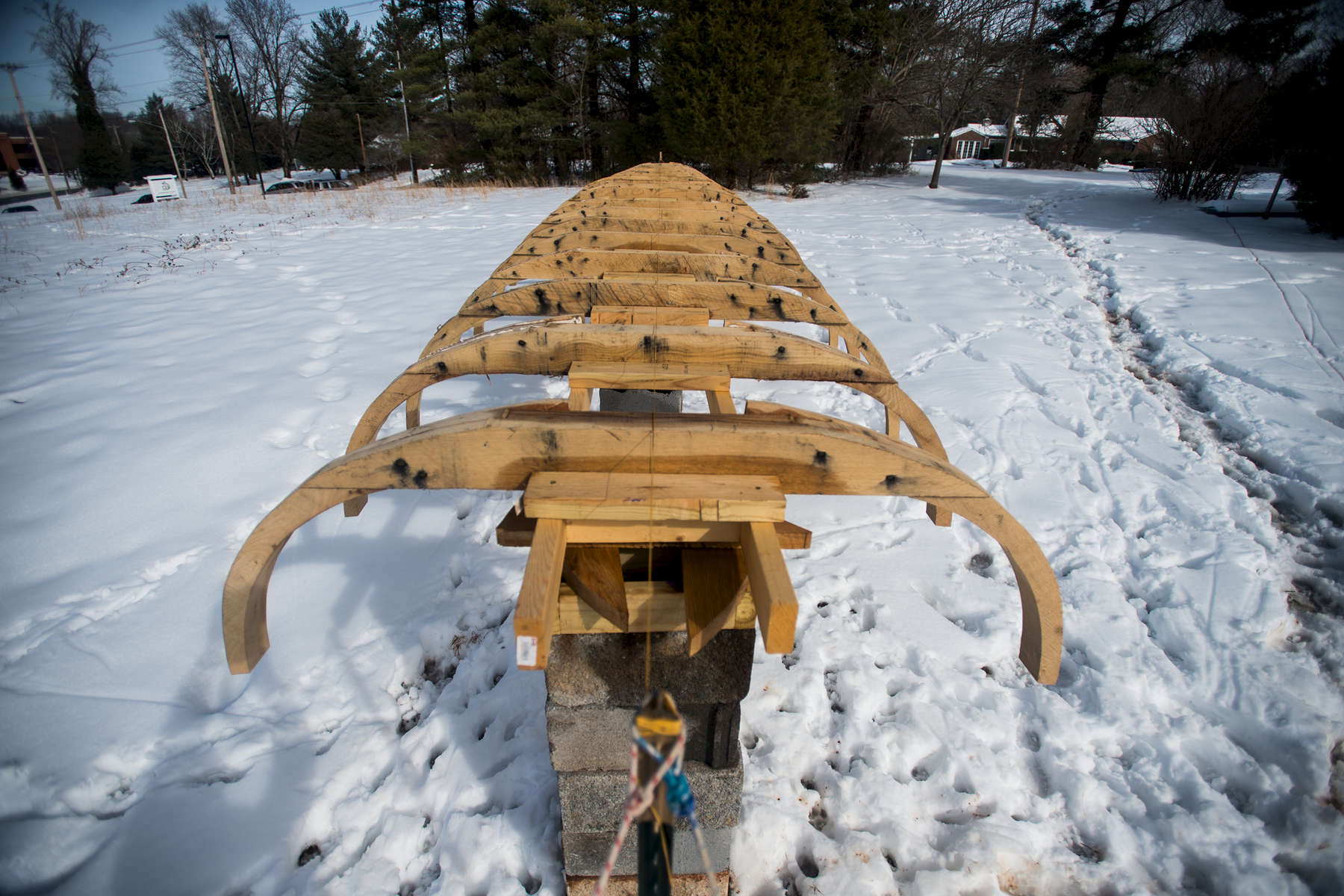 The skeleton of the batteau Lizzie Langley is seen in late February on Robert Schumacher's property in Lynchburg.