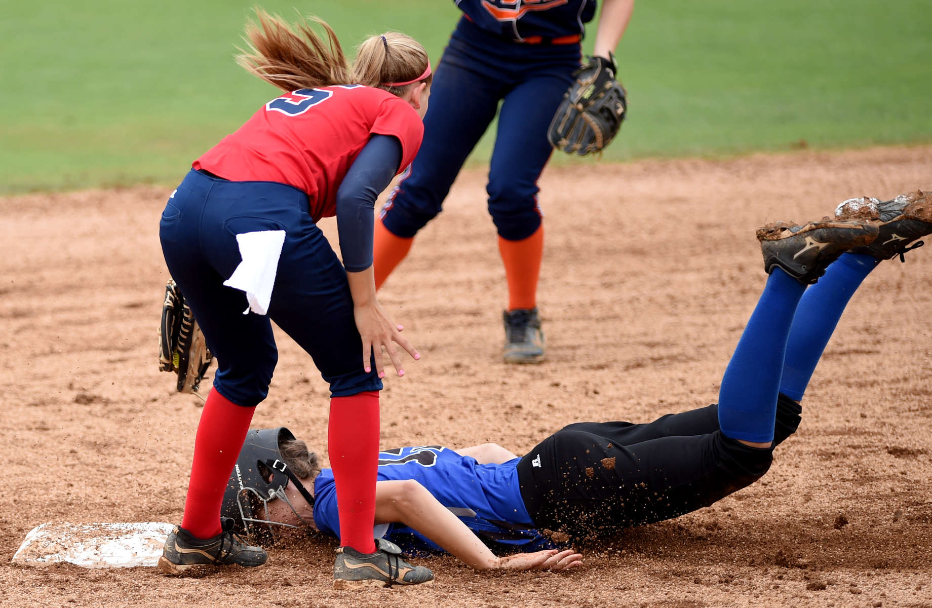 West's Lia Batchelor (York) slides in to second base head-first during the VHSCA all-star softball game Thursday morning at Liberty University in Lynchburg. (Max Oden / The News & Advance)