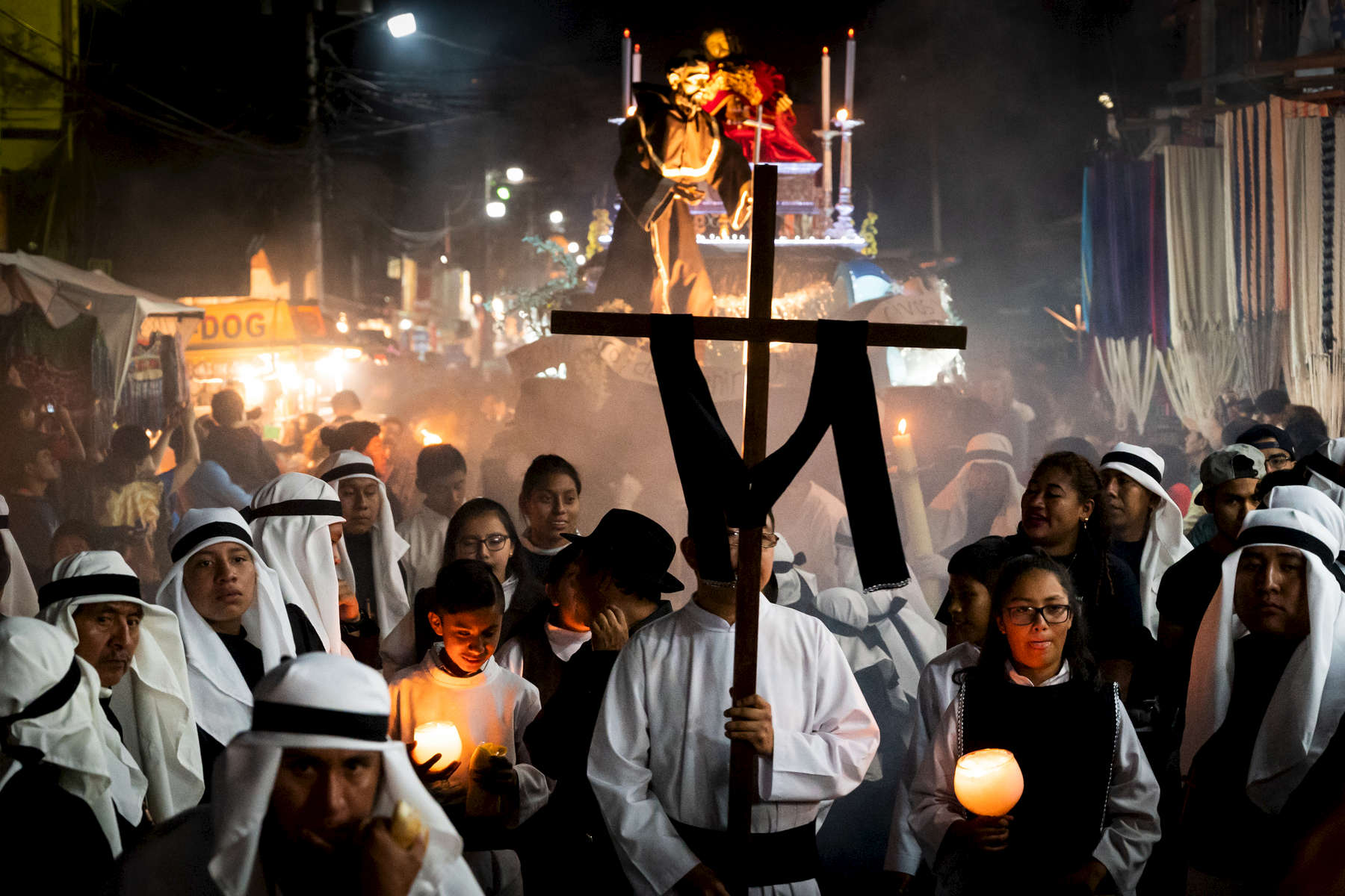 The procession makes its' way down Panajachel's main street, Calle Santander, on April 19th.