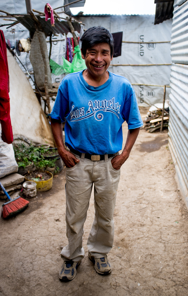 A man from the village of Chutinamit stands for a portrait in early 2013. The village was relocated to its current location after Tropical Storm Agatha in 2010. The residents are still living in transitional housing three years later. Mission Guatemala provides familes in Chutinamit with beds, water filtration systems and medical care at their clinic.
