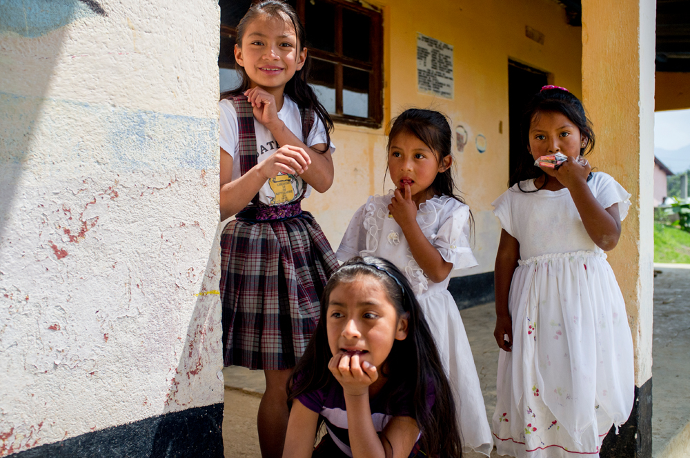 A group of students from an elementary school in the village of Caliaj, Guatemala are seen before performing in a mother's day ceremony.