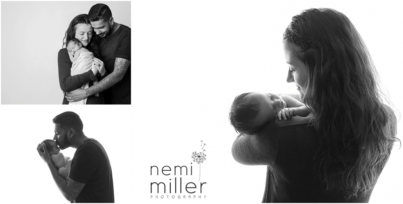 Black and white newborn portraits with mum and dad.
