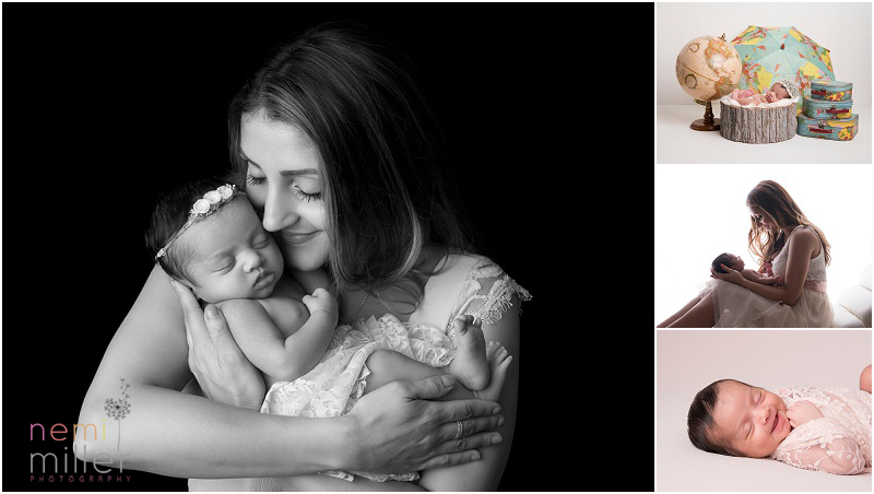 Newborn photography session portraits of mum and baby and cute smiling baby photographs.