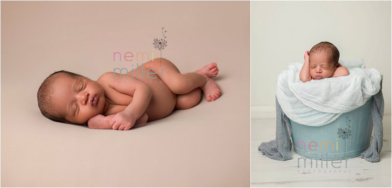 Newborn baby stylised photographs shot in a studio. Cute baby in a bucket shot.
