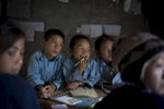 Students at Phulyuku Primary School in Tulaman Rai's class take part in an interactive English activity.