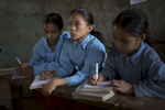 Nirmala Rai (second from left) studies in class 4 at Birendrodroya Higher Secondary School. Nirmala is one of the recipients of an AHF scholarship. AHF through its partner REED has provided teacher-training programs for the schools teachers while a number of the students also received scholarships. .