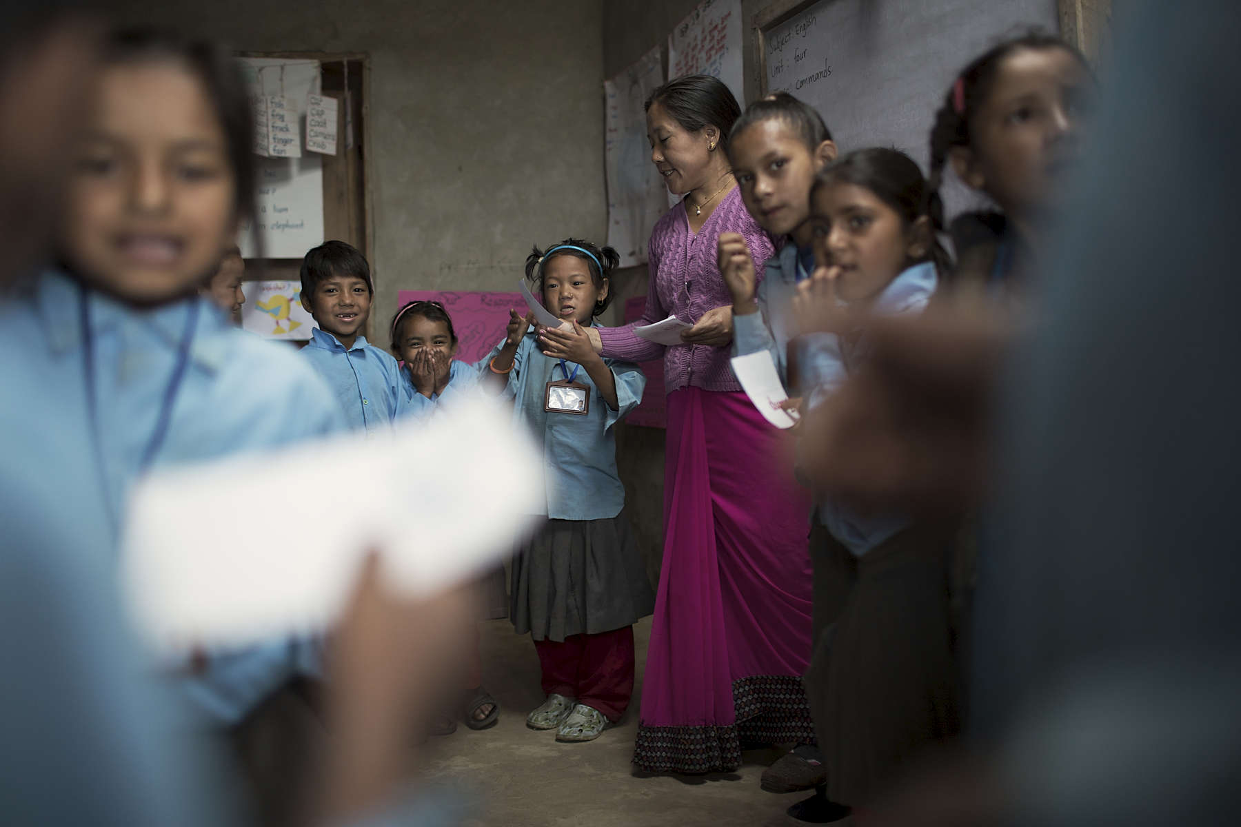 Birendrodroya Higher Secondary School grade 2 teacher Dil Kumari Rai leads her  students in an interactive exercise. Dil has participated in the teacher-training program four times most recently in 2011.