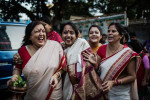 On dashami, the final day of the Durga Puja, female family members walk towards the Hooghly River where they will a immerse their Durga statue and a creation made up of nine plants known as Navpatrika.