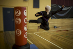 Saleha Amin performs a kick during tae kwon  practice run by Master Ridvan in Auburn, Sydney. Saleha was born in Australia while her Mother a Pashtun and Father a Tajik were both born in Afghanistan.