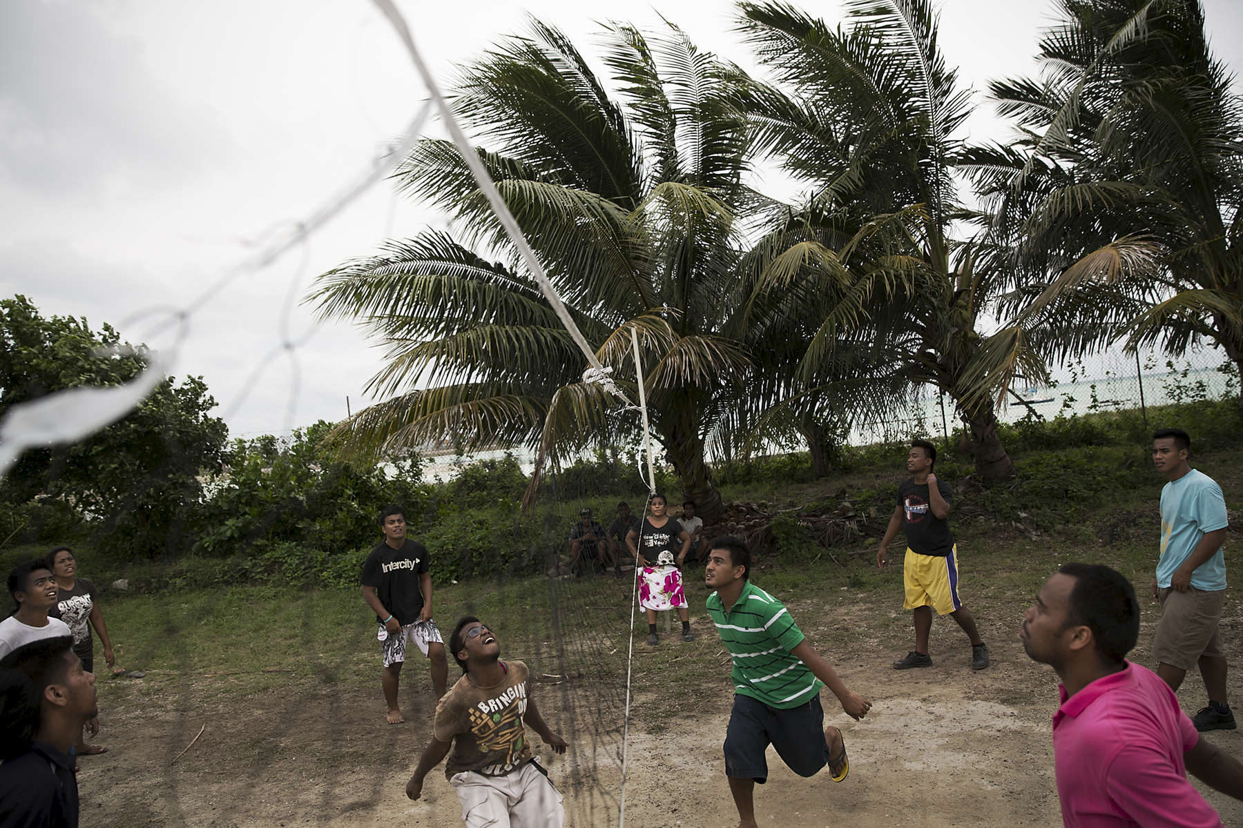 Students at the Kiribati Institute of Technology play volleyball during their lunch break in Betio, South Tarawa.