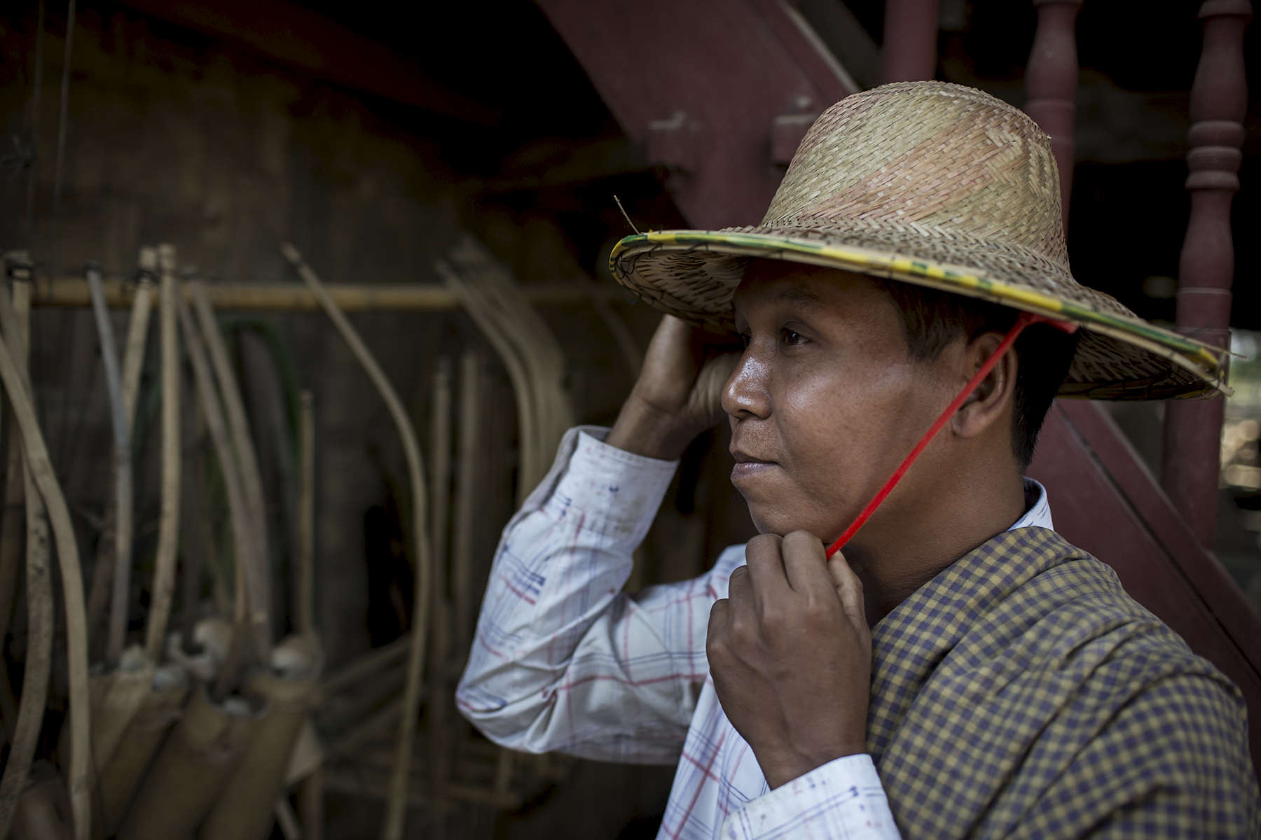 U Tin Naing demonstrates how he now dresses correctly when he prepares to go working on the farm. U Tin Naing, 41 years old, has two children and is a farmer. U Tin Naing had suffered from malaria in the past and believed it was from drinking dirty water. In Myanmar there are many misconceptions about how people contract Malaria, another commonly held belief is that eating bananas or papaya transmits the disease. A key part of this Australian Red Cross Community Based Health & Resilience project is working with local volunteers to educate community members and ensure sustainable behaviour change in regards to water and sanitation practices. A major part of the project is community education. After ensuring quality community education, the project then install physical hardware, taps, tanks, toilets etc.