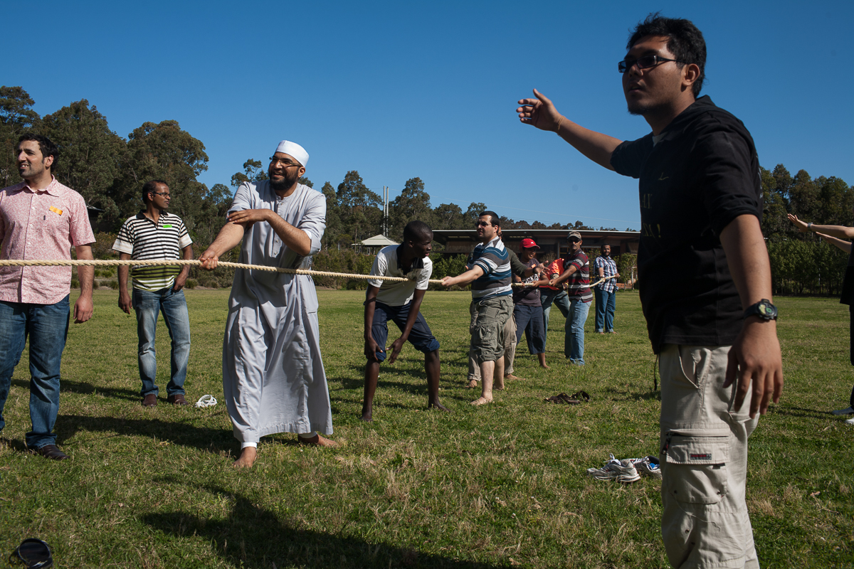 During the celebrations of Eid, the community joins together for a series of tug-of-war games. The University team are consistently defeated by the Newcastle Mosque team, lead by Imam Mohamed Khamis. An Imam is the spiritual leader of a mosque or Muslim community. Imam Mohamed Khamis arrived from Egypt in August 2008, and has since led prayers at the Newcastle Mosque and provided religious teachings in local schools and the wider community.