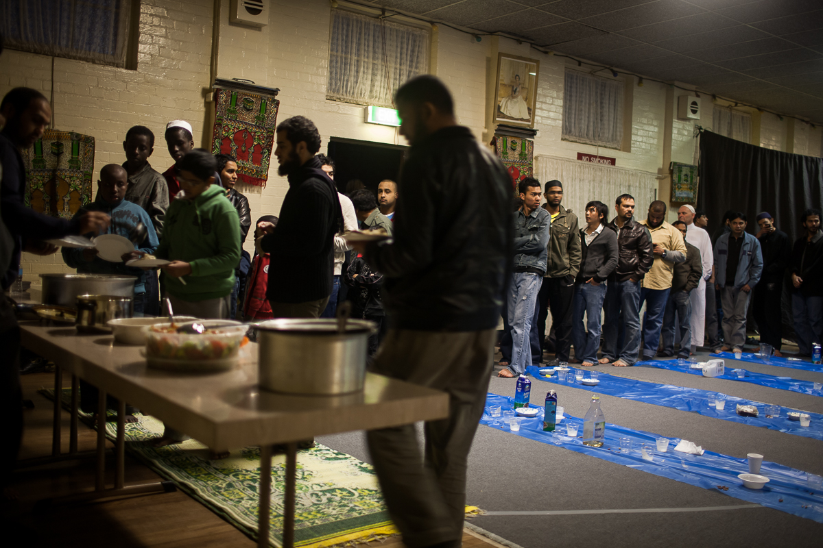 After evening prayer during the month of Ramadan, Newcastle's Muslim community breaks their fast together.