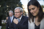 Australian Prime Minister Kevin Rudd walks through Burwood park before a video interview. Today was the last day of pre polling and 36 hours until formal voting begins on Saturday morning (7th September).  Conor Ashleigh for the International Herald Tribune. Australian Prime Minister Kevin Rudd accompanied by member of parliament John Murphy (right).  Conor Ashleigh for the International Herald Tribune.