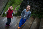 Friends join up after finishing their jobs on the weekened inside the Tibetan Children's Village.