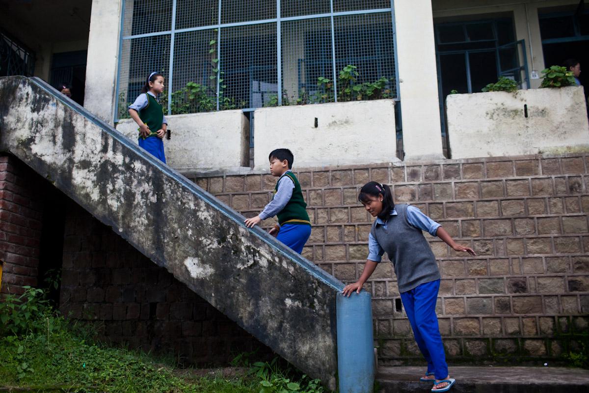 Students move around during their break at school. 2000 children study at the Tibetan Children's Village.