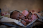 A newly born baby girl  recently arrived  in the SOS Children's Village in Malakal, South Sudan, after her mother died during child birth.