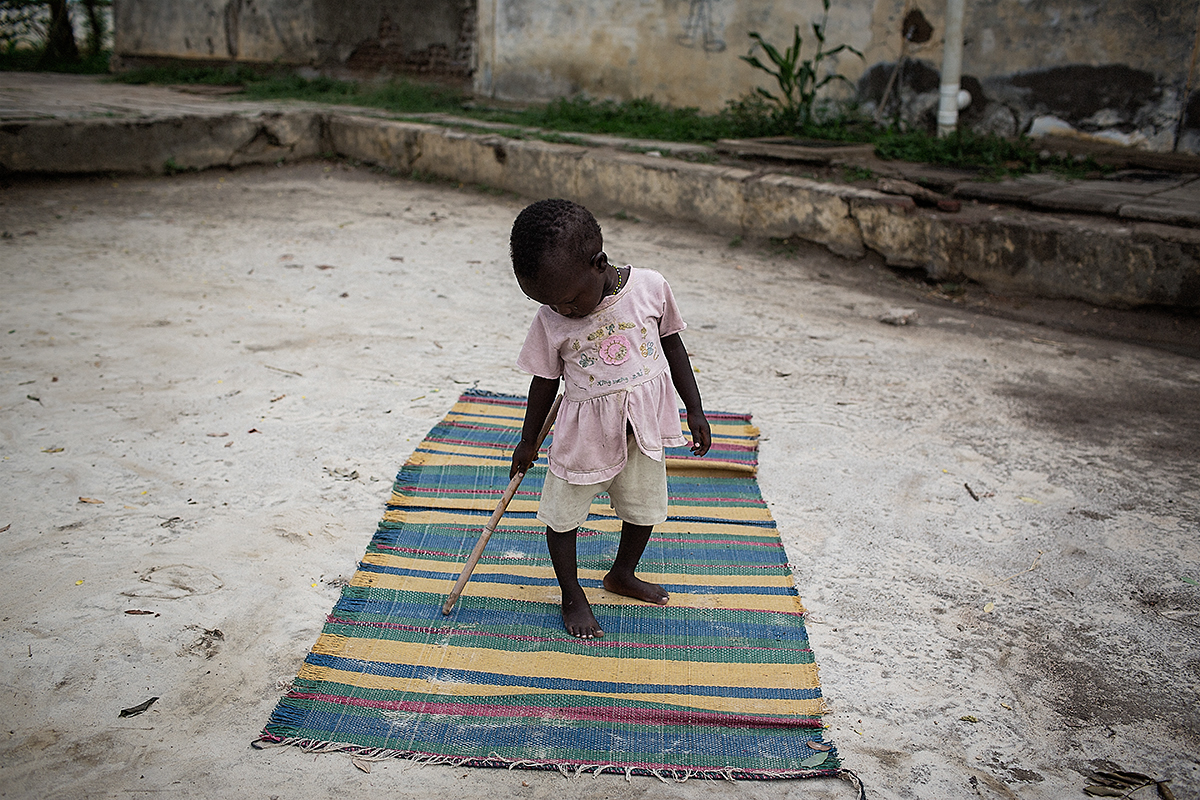 An orphaned girl inside the SOS Childrens Village compound in Malakal.