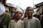 Young boys exit a madrassa or religious school in Korail slum in Dhaka. Korail is one of the oldest slums or boshti as its known in Bangla.