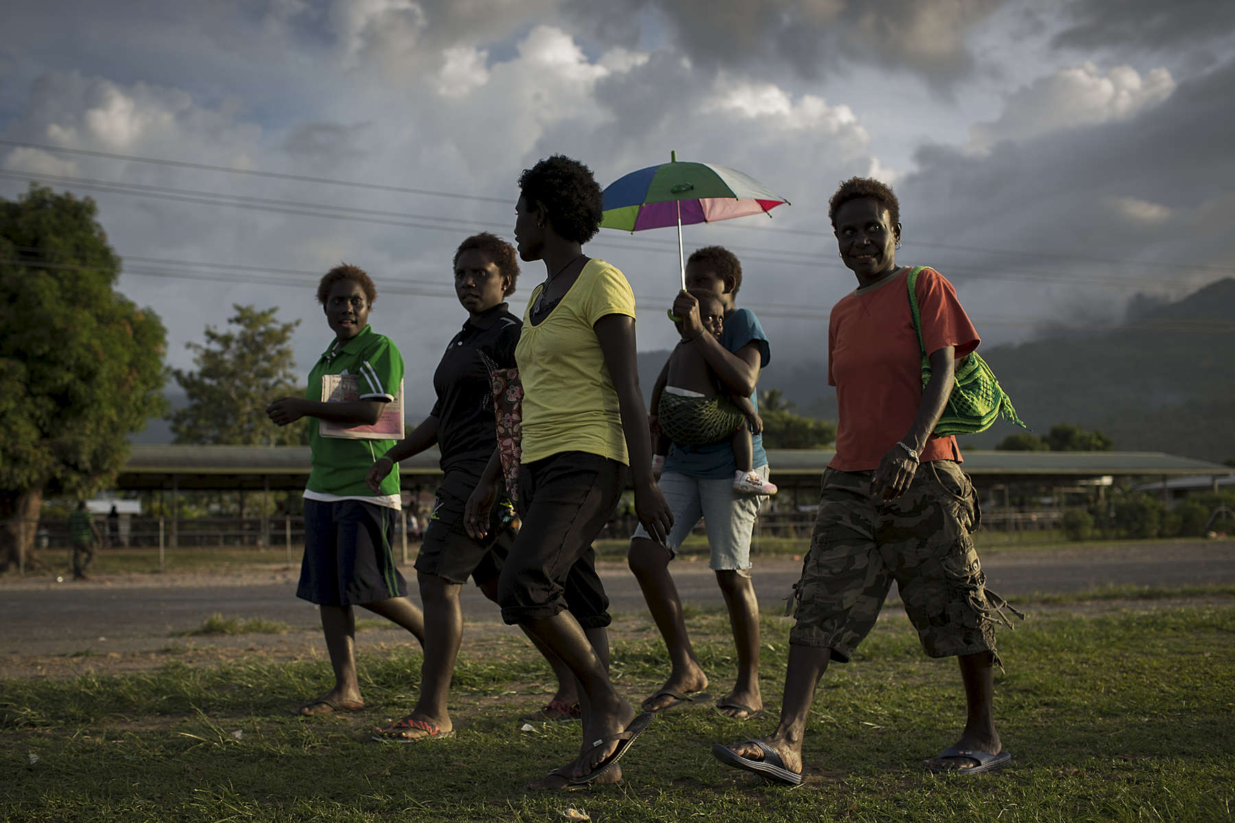 A group of women walk through a park in Arawa, one of the main towns on the semi-autonomous island of Bougainville.