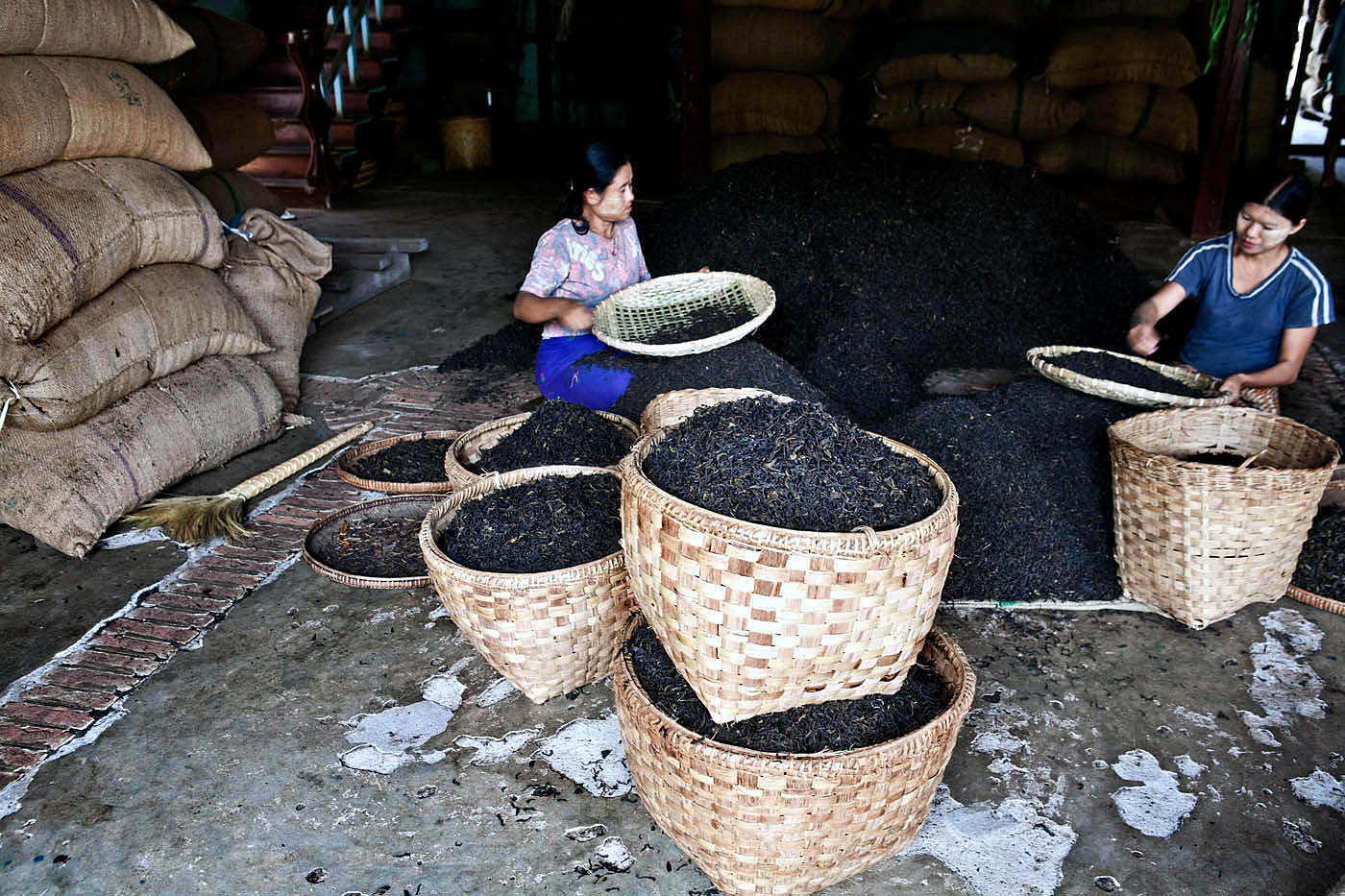 Dried tea is sorted and prepared for shipping in one of manyhomes along the manin street of Namshan.