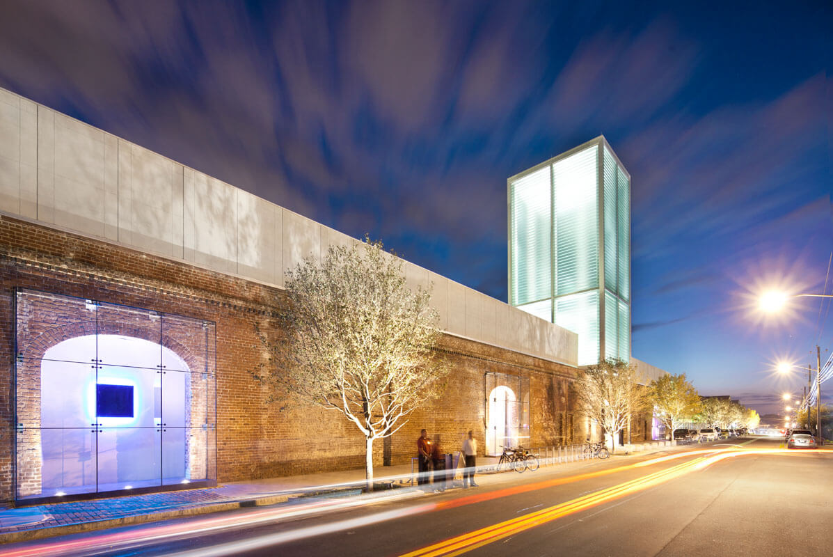 SCAD Museum of Modern Art at night