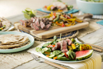 Professional food photographers in Austin, Texas - Dennis Burnett. Steak salad for Texas Beef photgraphy campaign