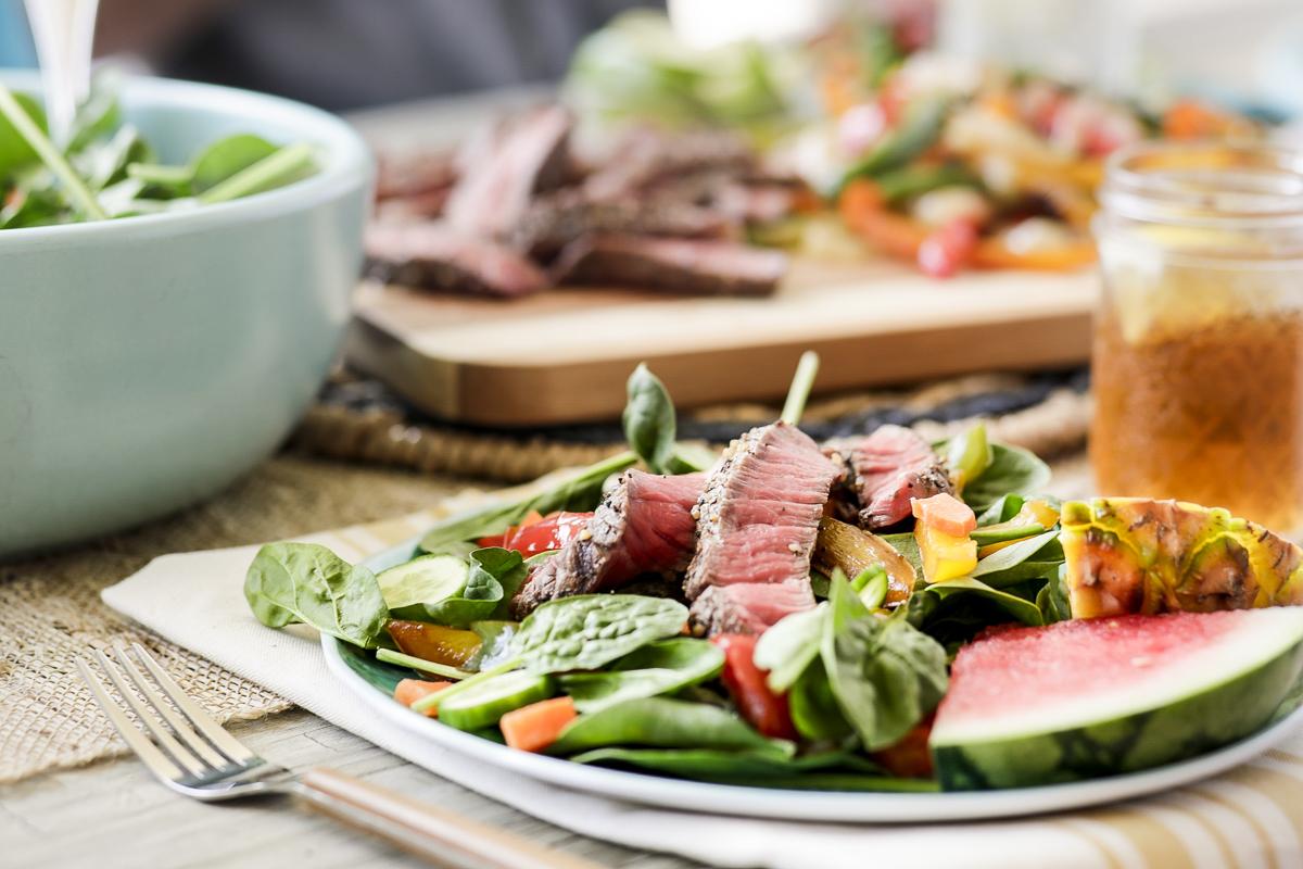 Professional Austin Food Photographer captures steak salad for Texas Beef by photographer Dennis Burnett