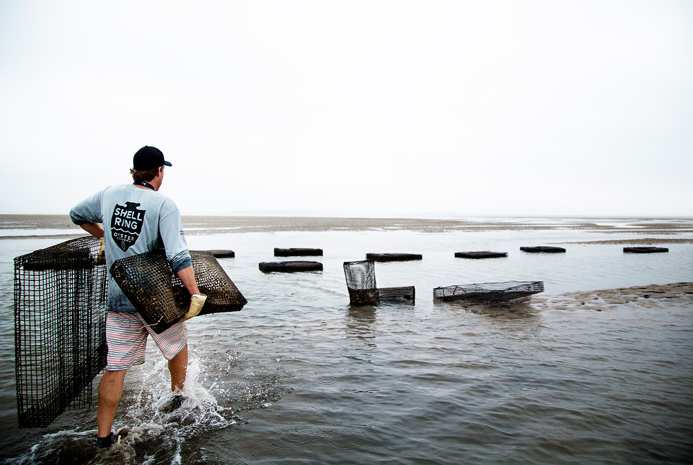 Advertising assignment shot in Beaufort, South Carolina for regional Oyster farm who specializes in sustainable agriculture.