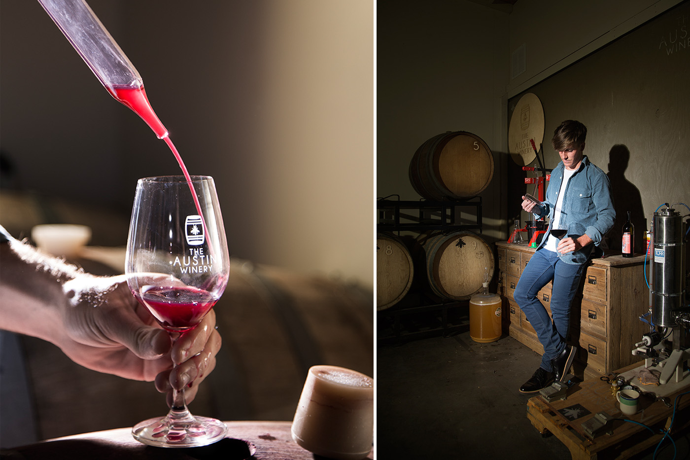 The Austin Whinery owner and CEO Ross Mclauchlan tests aged wine from a barrel