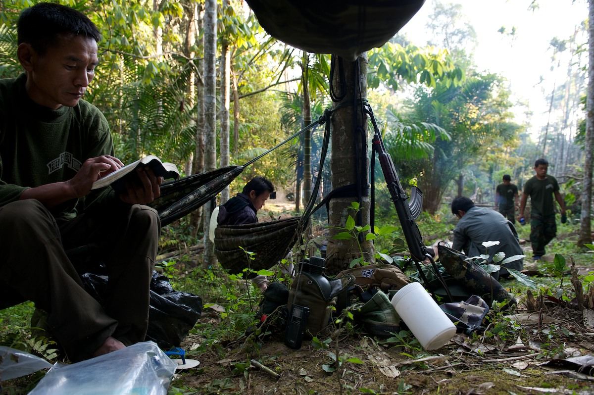 A Free Burma Ranger camp in the jungles of the Karen State. FBR expedition teams travel, with support from the KNU and KNLA, through the Karen State, moving between villages to provide medical aid.