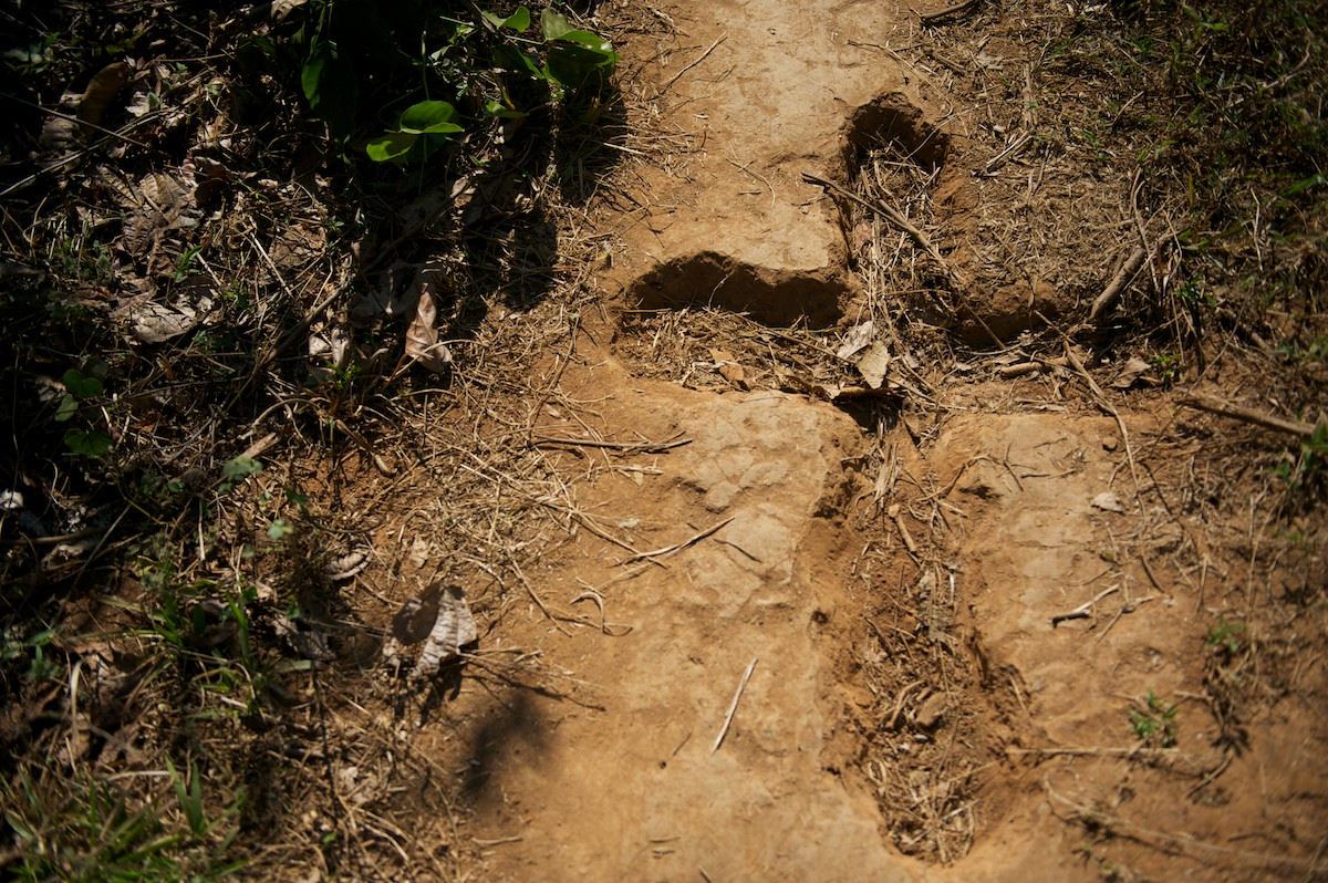 A cross carved into the dirt on a jungle trail in the Karen State of Burma. Animism, Buddhism and Christianitty dominate the majority of religious beliefs within Karen communities.