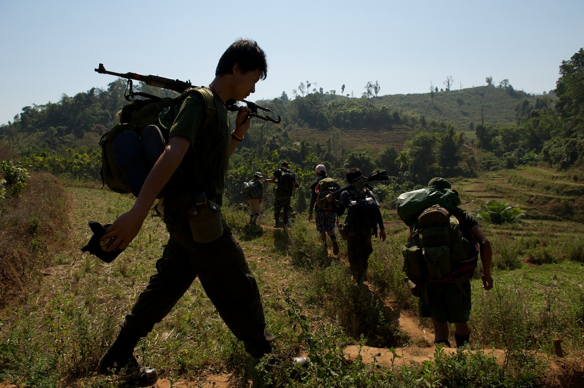 Free Burma Ranger expedition and relief teams travel, with support from the KNU and KNLA, through the Karen State, moving between villages to provide medical aid.