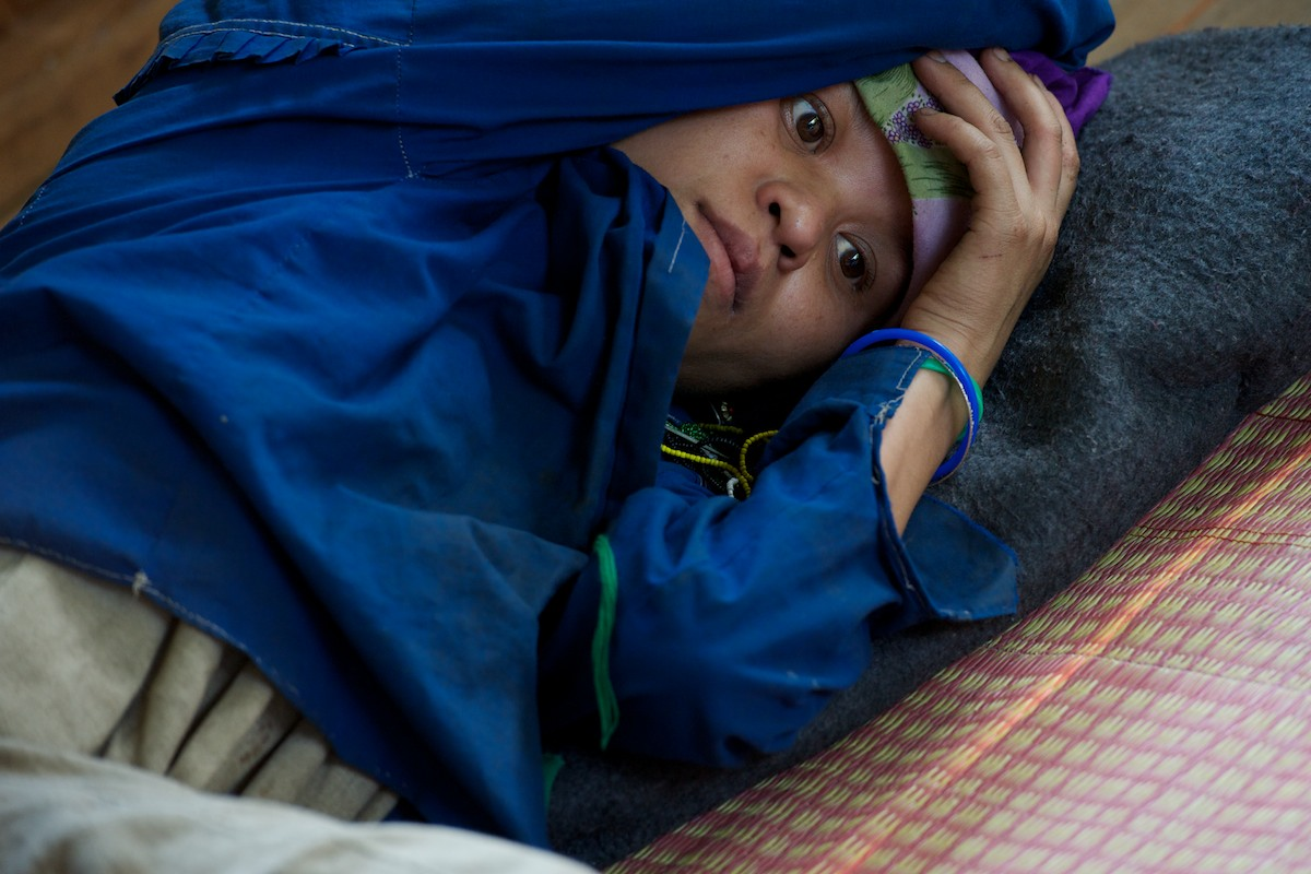 An in-patient at the Free Burma Ranger's medical clinic at the Jungle School of Medicine Kawthoolei.