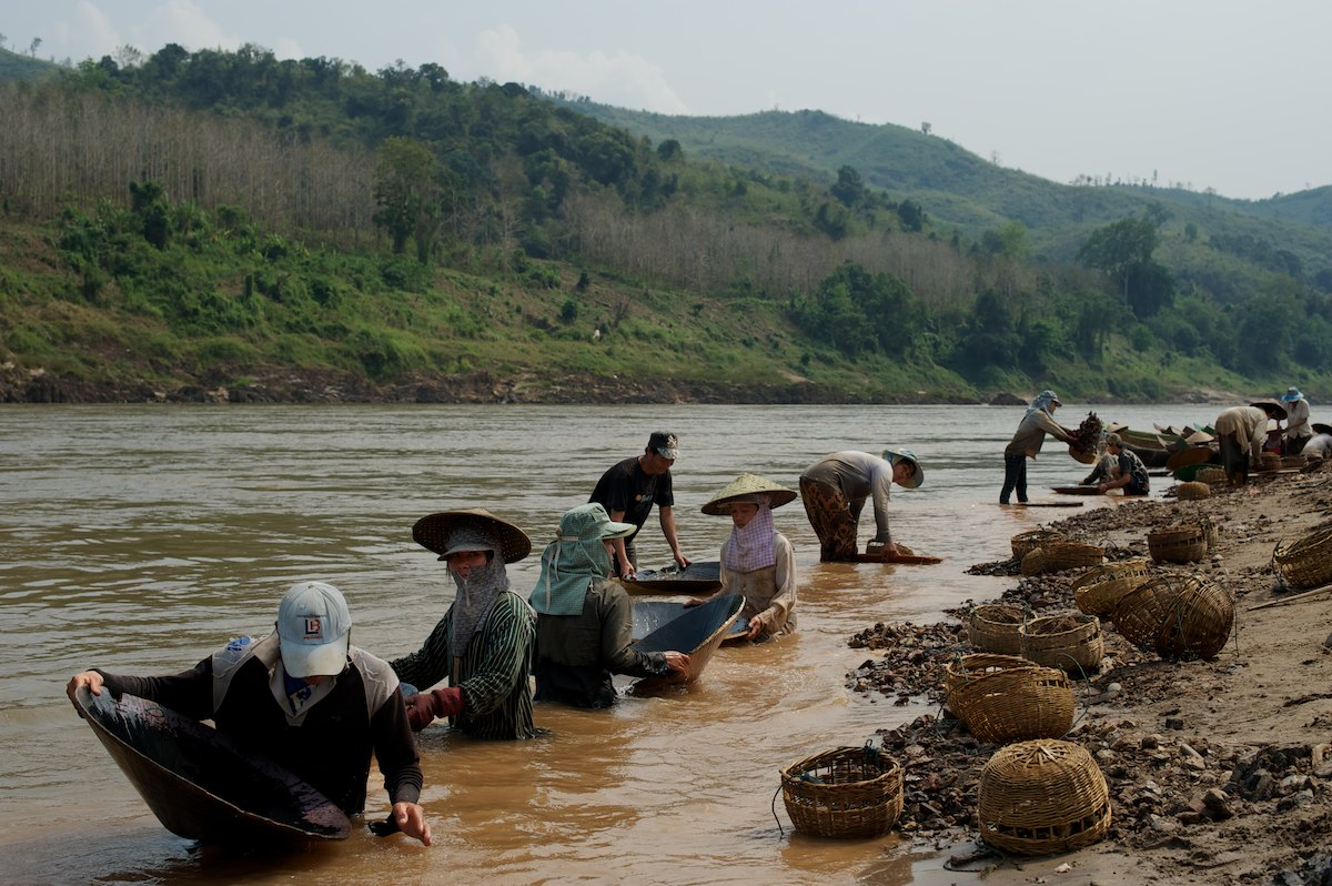 Gold mining is a prevalent source of income and work for many Laotian villagers along the banks of the Mekong River. On a good day, a single miner will collect up to 500mg of gold.