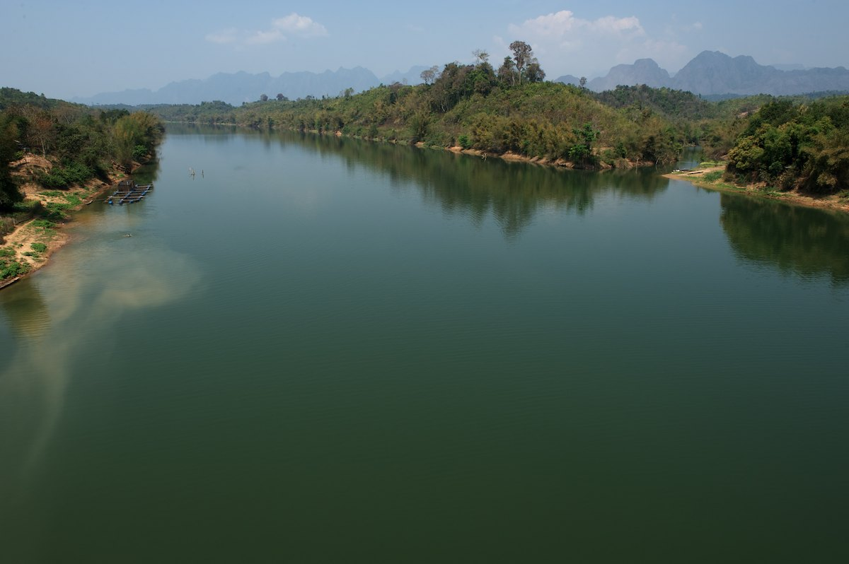 A view of the Nam Gnounang River confluence flowing into the Nam Kading River, downstream from the current Theun-Hinboun Hydropower Expansion Project located on the border of Bolikhamxay and Khammouane Provinces in southern Lao PDR.